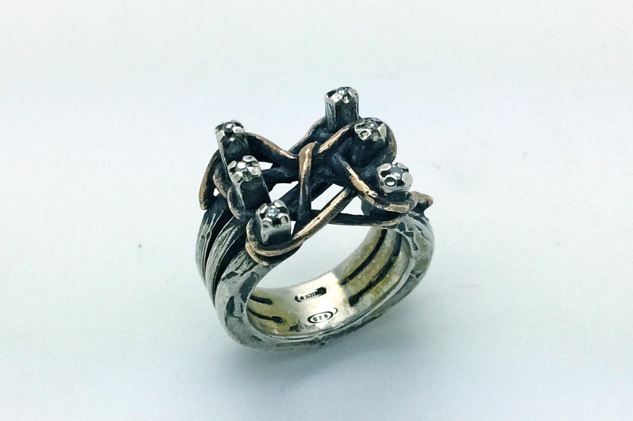 anello in argento e bronzo